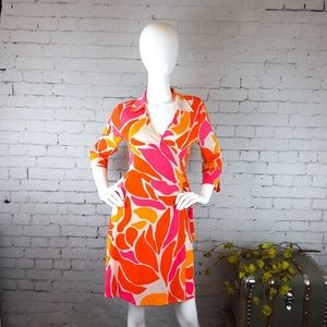 NWT Laundry by Shelli Segal neon print wrap dress